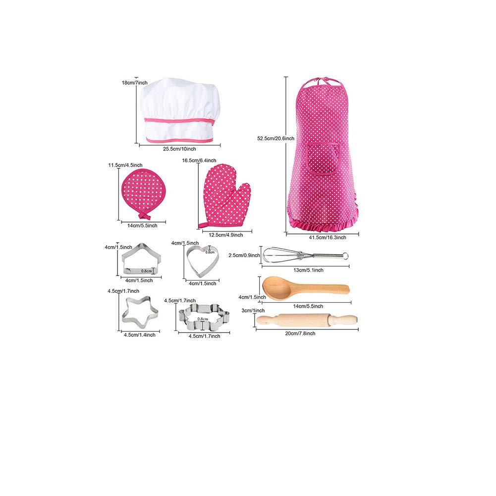 colore rosa 11pcs XKJFZ//pacchetto Chef Set bambini costume da cucina con il grembiule da cuoco cappello utensili da cucina Mitt