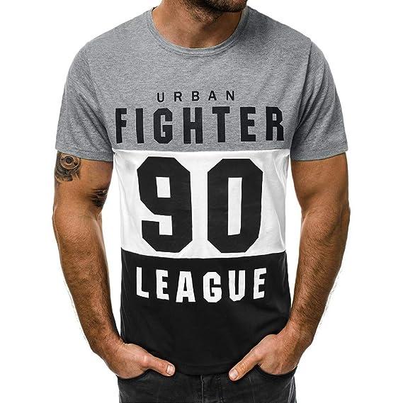 0bf43e1d2278 Camiseta de Manga Corta para Hombre Moda Estampado Cartas Cuello Redondo  Tops de Hombre Cómodo Transpirables T-Shirt de Verano Personalizadas MMUJERY