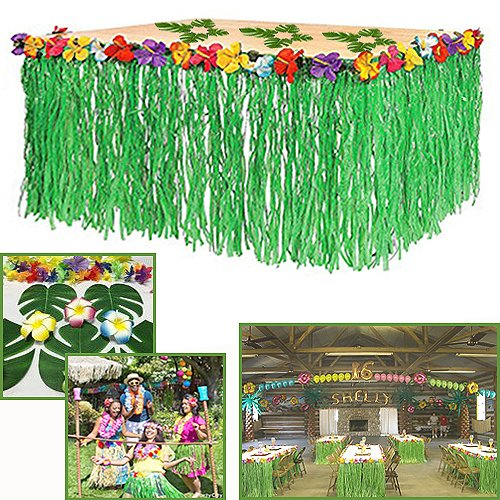 Adorox 1 Table Skirt Hawaiian Luau Hibiscus Green Table Skirt 9ft Party Decorations (Green (1 Table Skirt))