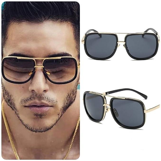 No Name Ltd Gafas de sol cuadradas negras para hombre ...