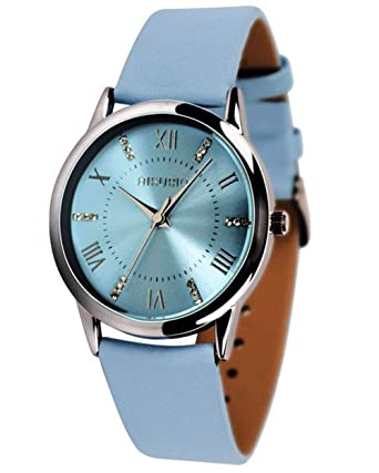 0fd7b9841 Amazon.com: AIKURIO Women's Wrist Watch Analog Quartz with Leather Strap  and Crystal Dial 30M Waterproof Classic Daily Style AKR001: Watches