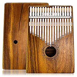 Anordsem Kalimba Thumb Piano 17 Keys, Mbira Finger Piano Koa Wood Body and Ore Metal Tines, Portable Musical Instrument Gifts for Kids and Adults Beginners