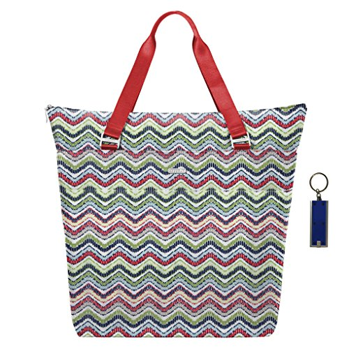Baggallini Extra Large Expendable Travel Gym Diaper Tote Bag w Key Chain (Wave Print)