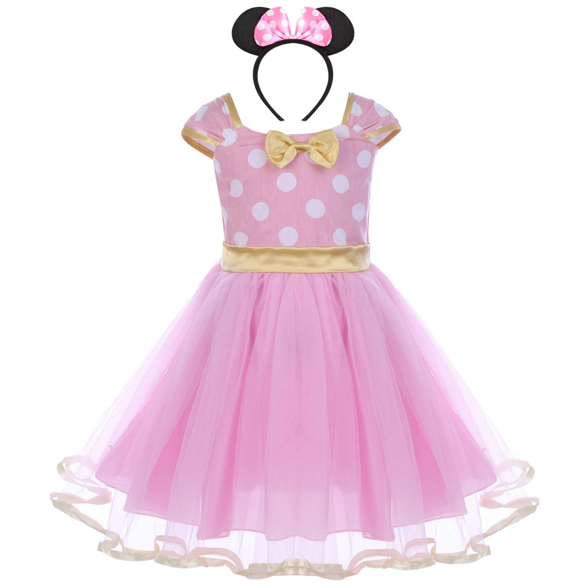 IWEMEK Toddler Girl Princess Polka Dots Christmas Birthday Costume Bowknot Ballet Leotard Tutu Dress up+3D Mouse Ear Headband, Pink & Gold, 2-3 Years