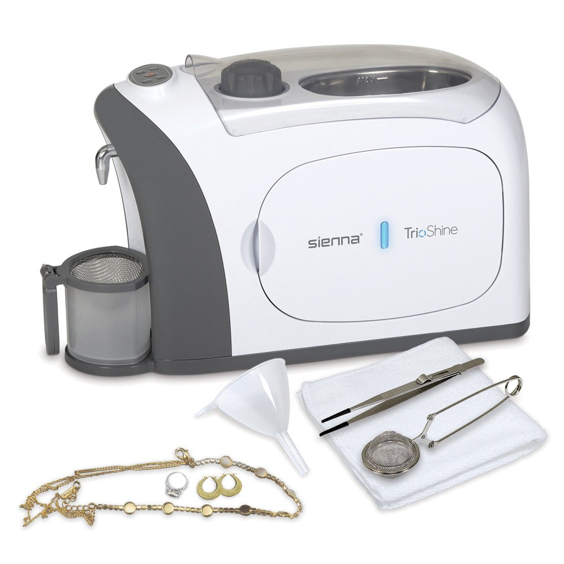 TrioShine 3 in 1 Ultrasonic Jewelry Cleaner Machine, Jewelry Steam Cleaner, UV Light Sanitizer (Kills 99.9% Bacteria) | Professional Grade for Rings, Watches, Earrings, Pacifiers, Eyeglasses, Dentures