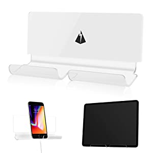TXEsign Adhesive Wall Phone Tablet Holder Mount Stand for Tablet Smartphones eReader Wall Holder Mount (Transparent and White)