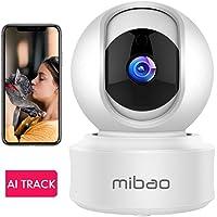 1080P Cámara De Vigilancia WiFi Interior, Mibao Cámara Vigilancia, HD Visión Nocturna, Detección de Movimiento Remoto, Alarma de Correo Electrónico, Audio Bidireccional, Monitor para Bebe/Perros