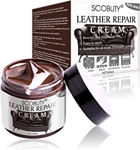 SCOBUTY Leather Repair Kit,Leather Restorer,Leather Repair Cream,Leather Scratch Repair and Protect Paint Cream for Car Seats,Sofas, Couches,Leather Coats,Dark Brown
