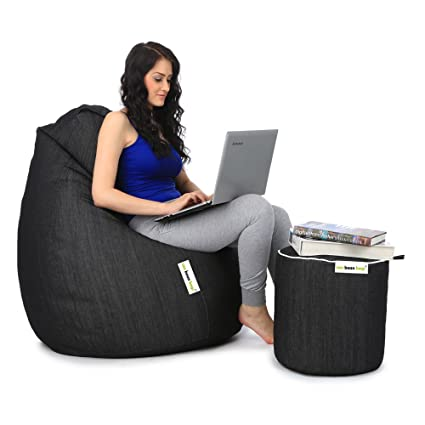 Can XXXL Denim Bean Bag And Round Pouffe Without Beans (Black)