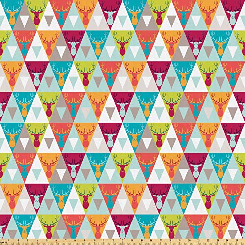 Ambesonne Indie Fabric by The Yard, Triangles Pattern with Deer Elk Portraits Geometric Colorful Funky Hipster Tile Urban, Microfiber Fabric for Arts and Crafts Textiles & Decor, 5 Yards, Multicolor (Portrait Elk)