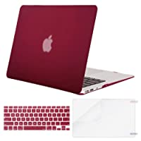 Mosiso Plastic Hard Case with Keyboard Cover with Screen Protector for MacBook Air 13 inch (Model: A1369 and A1466), Wine Red