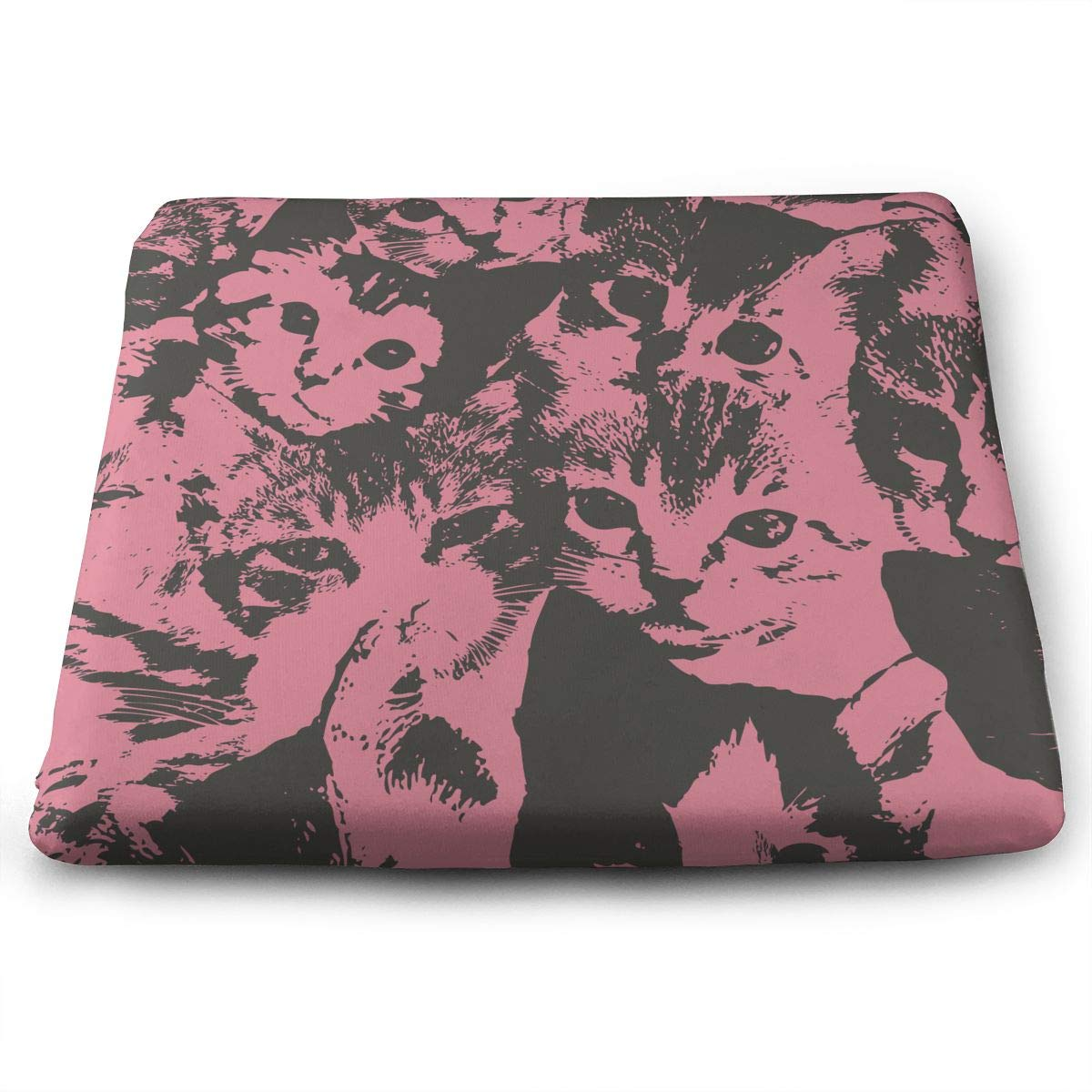 TLDRZD Novelty Perfect Indoor Outdoor Square Seat Cushion,Cute Cat Lightweight Chair Pads Memory Foam Filled for Patio,Office,Kitchen,Desk,Travel,Kids,Yoga