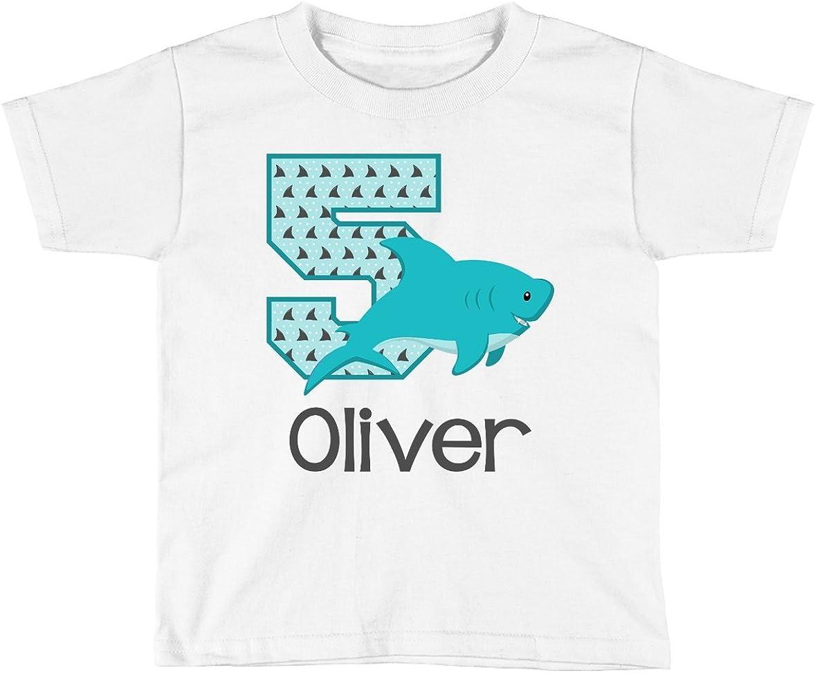 Boys Shark Birthday Shirt Any Age   Personalized with Any Name