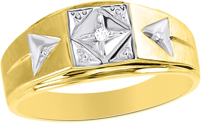 Bishilin Wedding Band Ring Mens Iced Out Rings Round White Cubic Zirconia Size 9