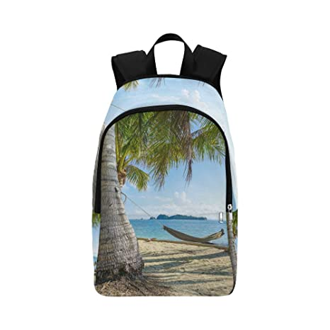White Hammock Over The Beach Casual Daypack Travel Bag College School Backpack for Mens and Women Backpacks & Bags Multipurpose Daypacks