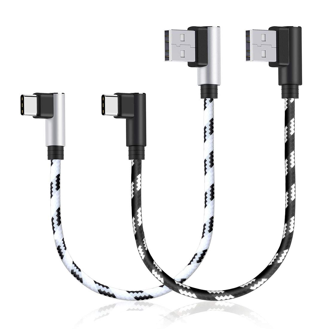 USB C Charging Cable, CIKOO 2 Pack 1Ft Nylon Braided USB Type C Right Angle Fast Charger Cable Data Sync for Galaxy Note 10 9 8 S8 S9 S10 Oneplus 5 6T ...