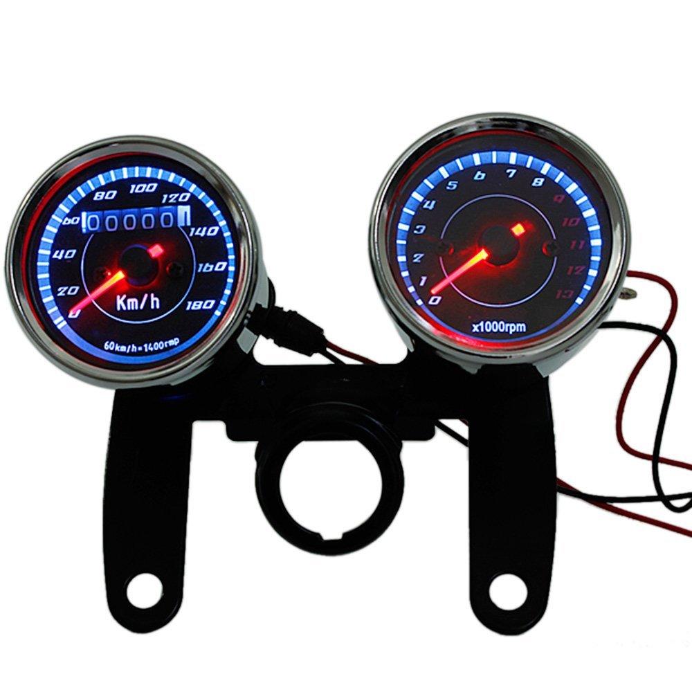 KKmoon - Tachimetro + contachilometri universale a LED per moto, 13000RPM, indicatore di velocità con supporto