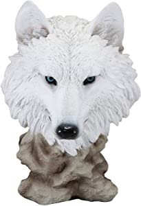 """Ebros Large Ghost Albino Arctic Snow White Wolf Head Bust Desk Plaque Statue 16.5"""" Tall Direwolf Timberwolves Or Wolves Rustic Cabin Lodge Decor Sculpture Canis Lupus Figurine Collectible Art Gifts"""