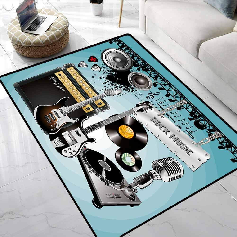 Rock Music Truck mats Concert Pattern Guitars and Records with Giant Speakers Ornamental Arrangement Large Floor Mats for Living Room 24 x 36 Inch by LilyDecorH