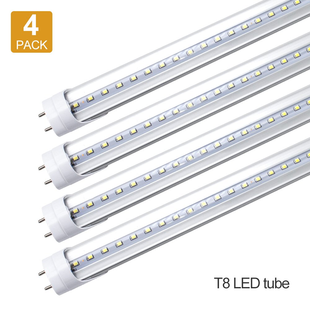 LightingWill LED T8 Light Tube, 4FT, Daylight White 5000K, Dual-End Powered, 2000Lumens 18W (40W Fluorescent Equivalent), Clear Cover, AC85-265V Lighting Tube Fixtures, 4 Pack