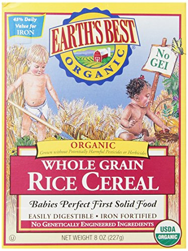 Earth's Best Organic, Whole Grain Rice Cereal, 8 Ounce (Pack of 12)