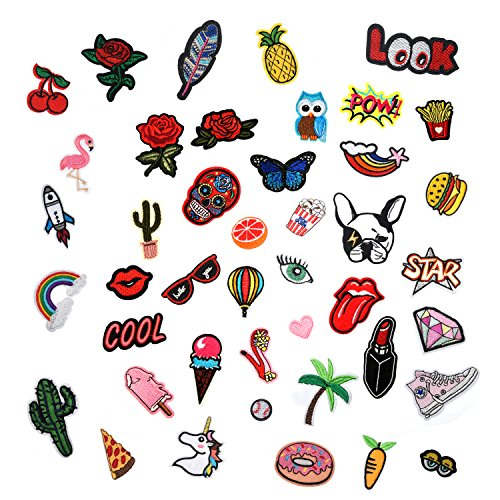 Bowisheet Iron On Patches 43 Pcs Embroidered Motif Applique Assorted Size Decoration Sew On Patches for DIY Jeans Jacket, Clothing, Handbag, Shoes,Caps (colorful 43Pcs)