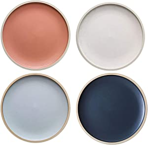 MDZF SWEET HOME 8.3-Inch Porcelain Dinner Plates Set Pizza Pasta Serving Plates Matte Glaze Dessert Dishes Set of 4