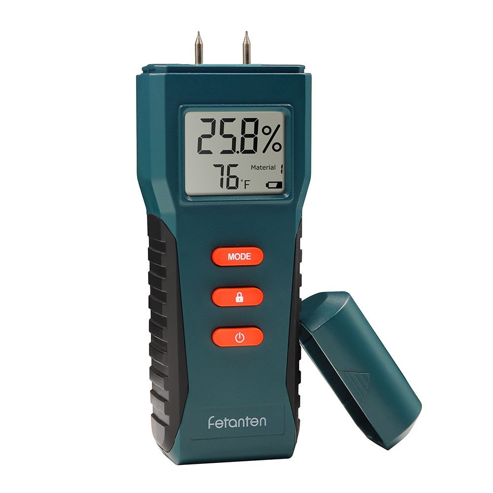 Wood Moisture meter, Damp Meter Detector for Wood/Drywall / Plants/Plaster with 2 Pins Temperature and Humidity Meter Display (blue)