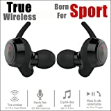 True Wireless Sport Earbuds HD Stereo Dual Bluetooth 4.2 Cordless Earphone Headphones Build-in Mic Hands-Free Running Sweatproof & ActivFit Working Out Jogging iPhone Samsung Android Cellphone