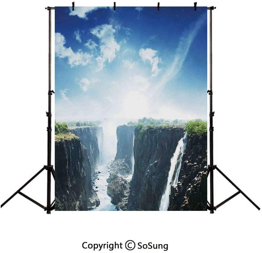 10x15Ft Vinyl Waterfall Backdrop for Photography,Majestic Various Weterfalls View on The Cliffs and Cloudy Sky Art Background Newborn Baby Photoshoot Portrait Studio Props Birthday Party Banner