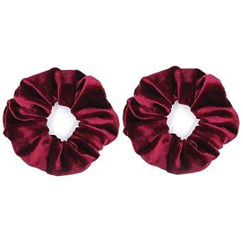 A Soft Burgundy Red Velvet Hair Scrunchie Ponytail Band Bobble