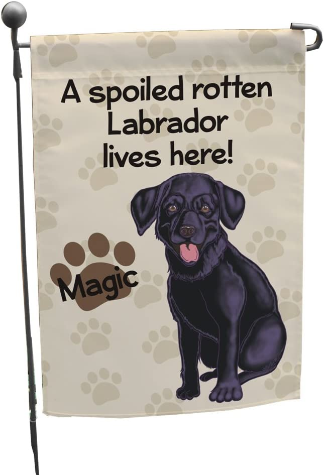 GiftsForYouNow Personalized Black Lab Spoiled Here Double Sided Garden Flag, Polyester