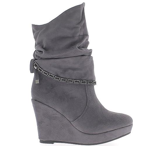 Stivali con zeppa grigio tacco 10cm foderato in pelle