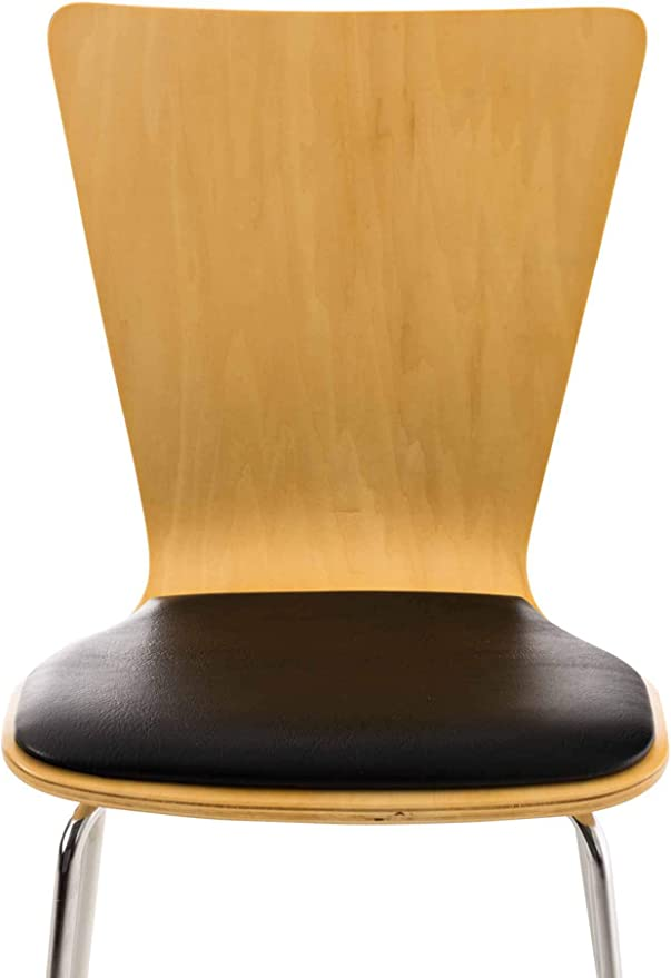 CLP 8 x Stapelstuhl Diego I Ergonomischer Konferenzstuhl Mit Holzsitz Und Metallgestell I Stapelbarer Stuhl Mit Pflegeleichter Sitzfl/äche Farbe:Natura