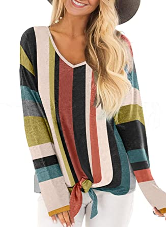 050090b6c1 Blibea Womens Striped Long Sleeve Shirt Color Block Tie Knot Button Down Blouse  Tops at Amazon Women's Clothing store: