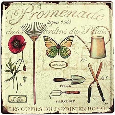 Easy Painter Fleur Vintage Tin Signs Artisanat Plaque M/étal Peinture Antique Fer Poster Bar Pub Signs Art Mural Papillon 29,9 x 29,9 cm