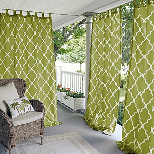 (Elrene Home Fashions 26865796490 Indoor/Outdoor Tab Top Single Panel Window Curtain Drape, 50