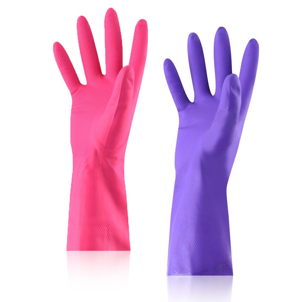 ラバーラテックス作業防水Household Gloves – aikegou再利用可能な洗濯手袋、手と快適フィット換気2パック M M  B0774L2J2J