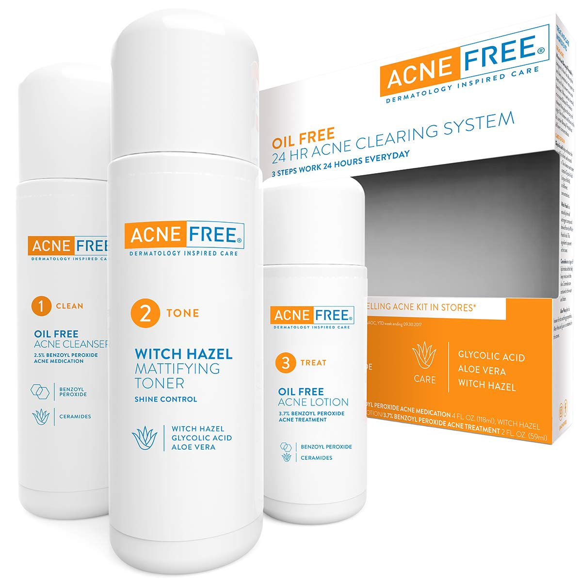 Acne Free 3 Step 24 Hour Acne Treatment Kit - Clearing System w Oil Free Acne Cleanser, Witch Hazel Toner, & Oil Free Acne Lotion - Acne Solution w/ Benzoyl Peroxide for Teens and Adults - Original: Beauty