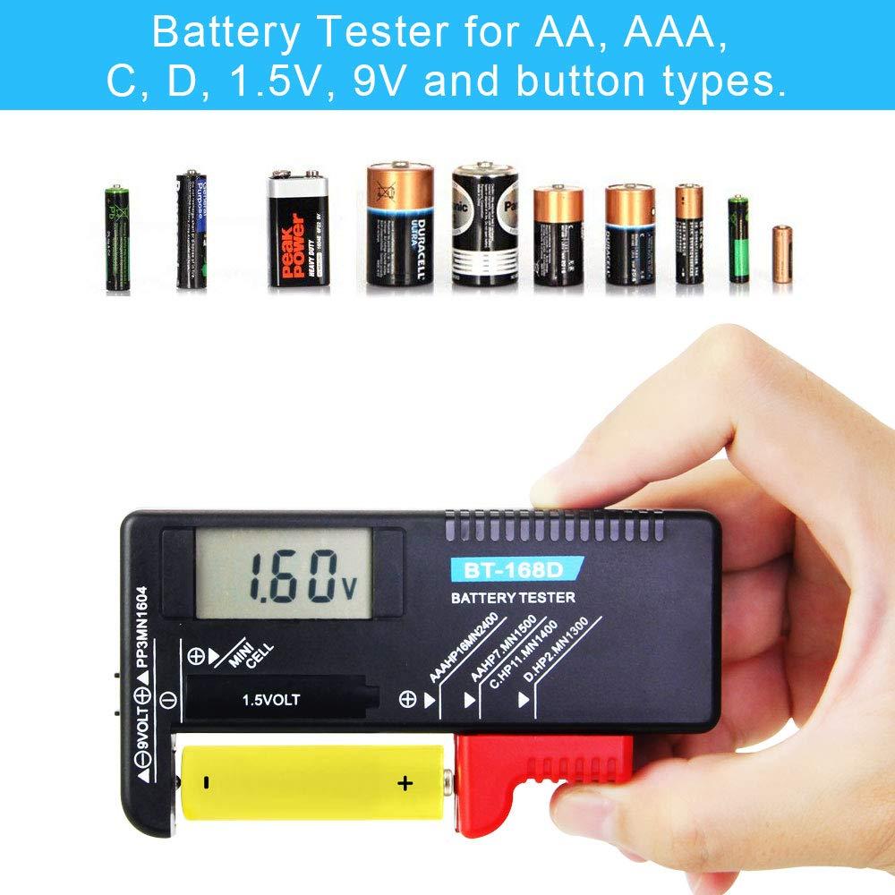 Port/átil BT-168D Pantalla LCD FAVENGO Probador Digital de Bater/ías Comprobador de bater/ía Para pilas AAA C D 9V 1.5V pilas de bot/ón negro Comprobador de Voltaje para el hogar