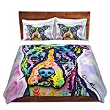 DiaNoche Designs Dean Russo-Illustrious Pit-Bull Dog Brushed Twill Home Decor Bedding Cover, 8 King Duvet Sham Set