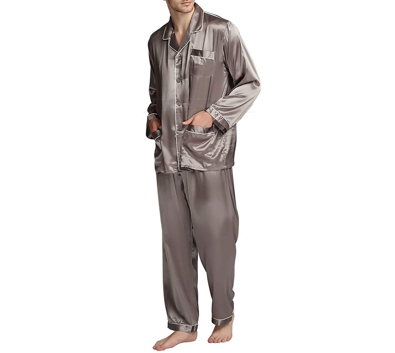 Mens Silk Satin Pajamas Pyjamas Set Sleepwear Set Loungewear Fits All Seasons