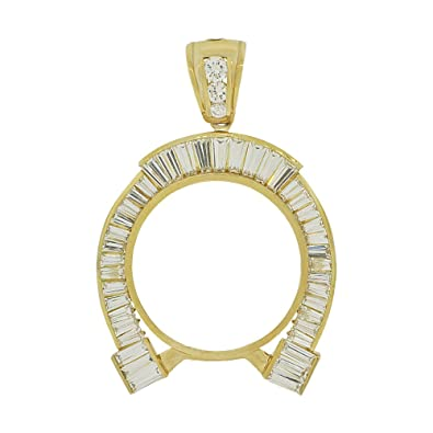 Amazon 14k yellow gold lucky horse shoe coin bezel frame 14k yellow gold lucky horse shoe coin bezel frame pendant charm fits round 37mm diameter aloadofball Gallery