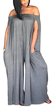 792733d5f7b Image Unavailable. Image not available for. Color  DingAng Womens Jumpsuits  Short Sleeves Off Shoulder Romper Casual Strapless Wide Leg Pants Jumpsuit  ...
