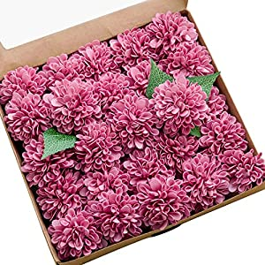 Ling's moment 25pcs Real-Looking Artificial Flowers Berry Pink Fake Dahlia Daisy Flower with Stem for Wedding Bridal Shower Bride's Bouquet Arrangement Decorations 48