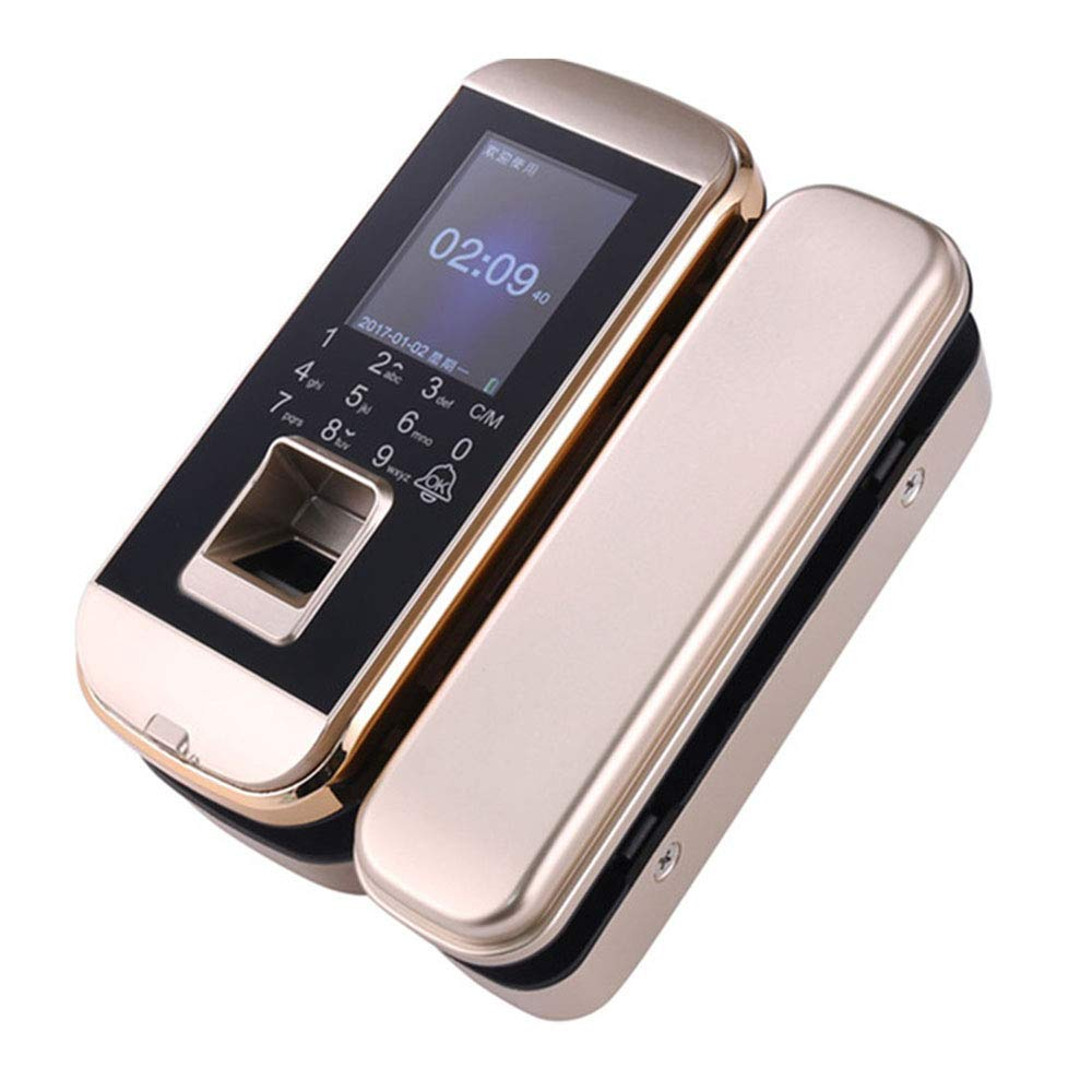 GAOPIN Smart Lock - Biometric Fingerprint Lock Double Single Glass Doors Employee Time Attendance Swipe Card Machine Keyless Office Security Black, Gold,Gold