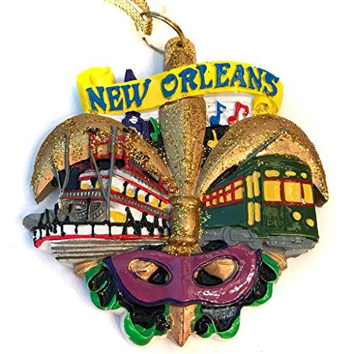 HOLIDAYS R US New Orleans Mardi Gras Fleur De Lis Street Car Riverboat Mask Holiday Christmas Ornament with Free Gold Drawstring Pouch/Bag