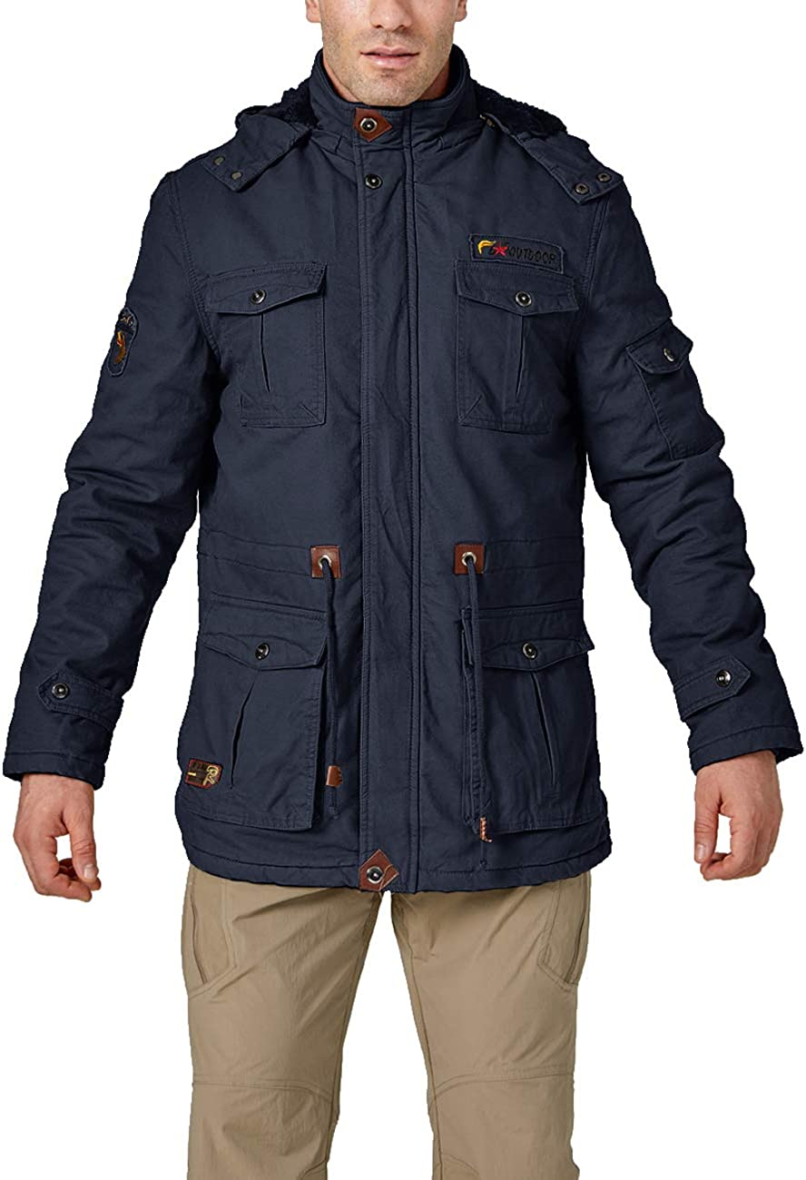 EKLENTSON Mens Winter Coats Fleece Lined Multi Pockets Thicken Cotton Parka Jacket with Removable Hood