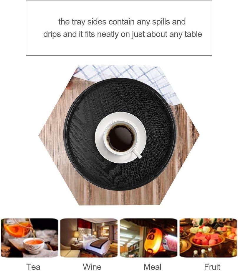 restaurantes caf/é Negro refrigerio 21cm Comidas Bandeja de Servicio para hoteles t/é de Madera s/ólida hogar Alimentos Acouto Plato de Servir de Madera Forma Redonda cafeter/ías cantinas