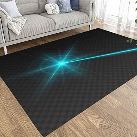 Capsceoll 3x5 Area Rugs Outdoor Area Rug Laser Beam Isolated Transparent Background Abstract Blue Shine Laser Light Ray Glow Flash Turquoise Neon Play Area Rugs For Bedroom Living Room Kitchen Kitchen